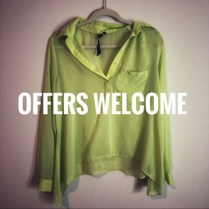 OLIVACEOUS neon yellow green sheer blouse long L